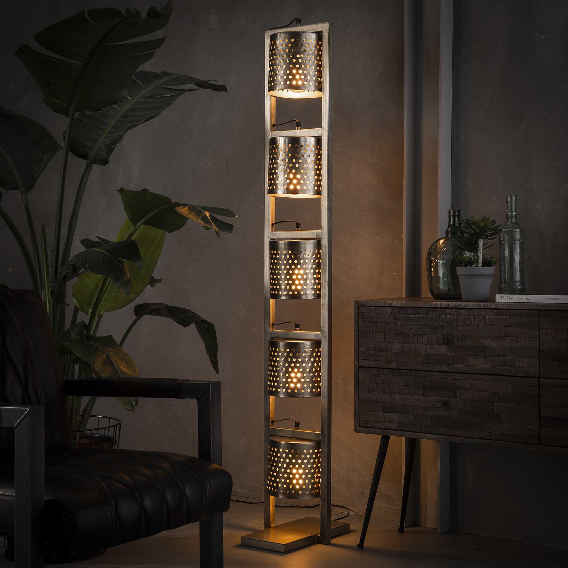 Vloerlamp 5x Ø18 geperforeerd - Antiek Nikkel