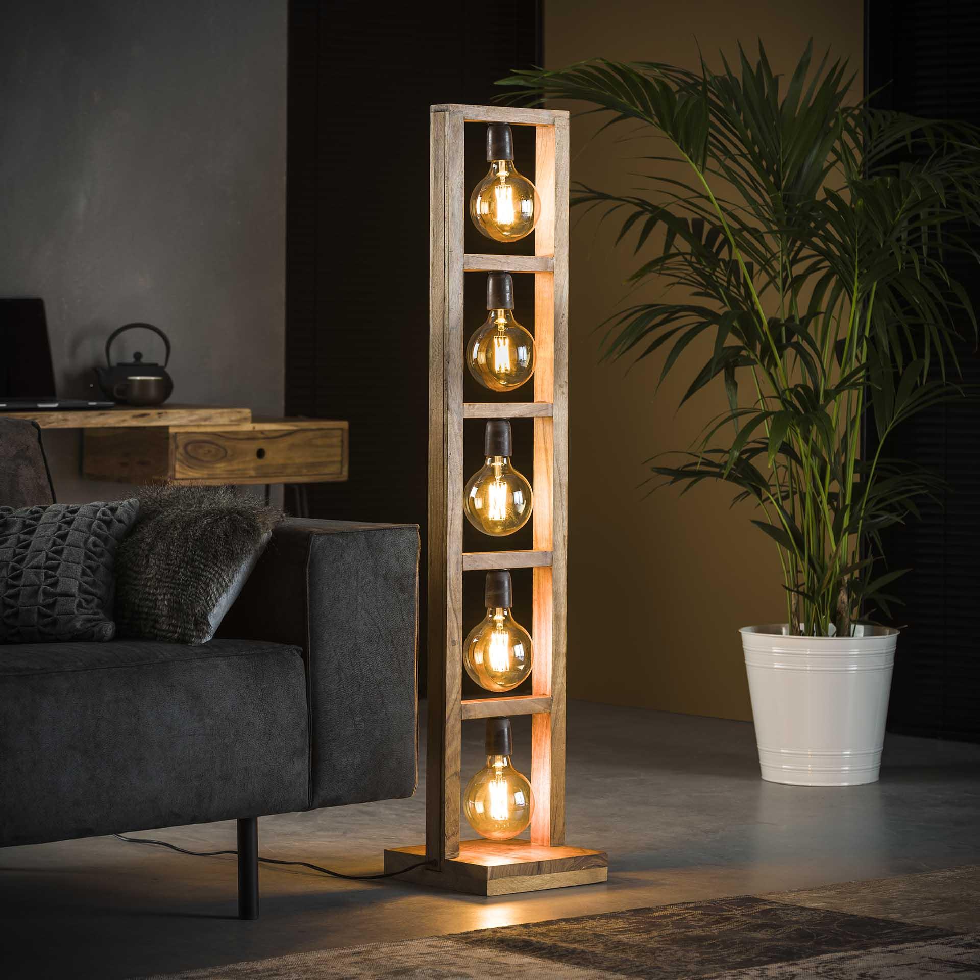 Vloerlamp 5L modulo houten frame - Massief acacia naturel