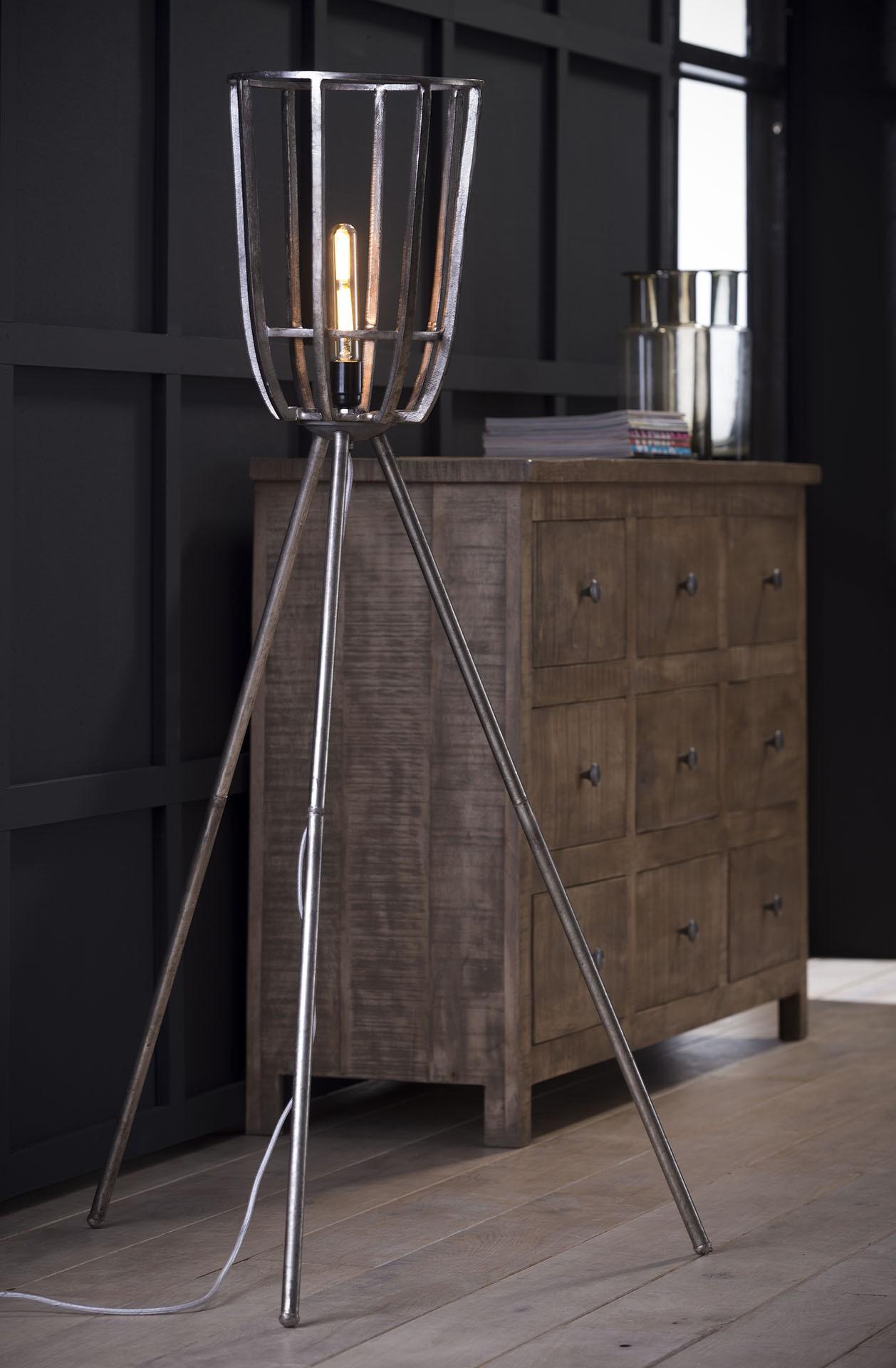 Vloerlamp Ø30 basket driepoot - Antiek Nikkel