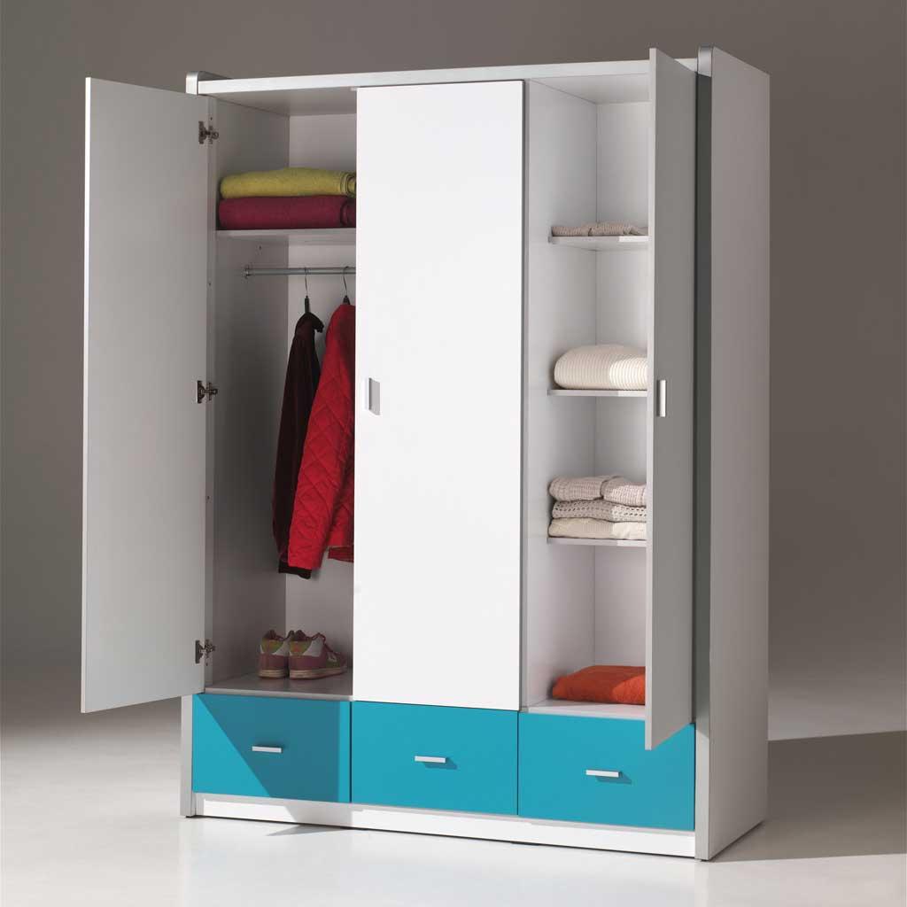 Vipack 3-deurs kledingkast Bonny lichtroze