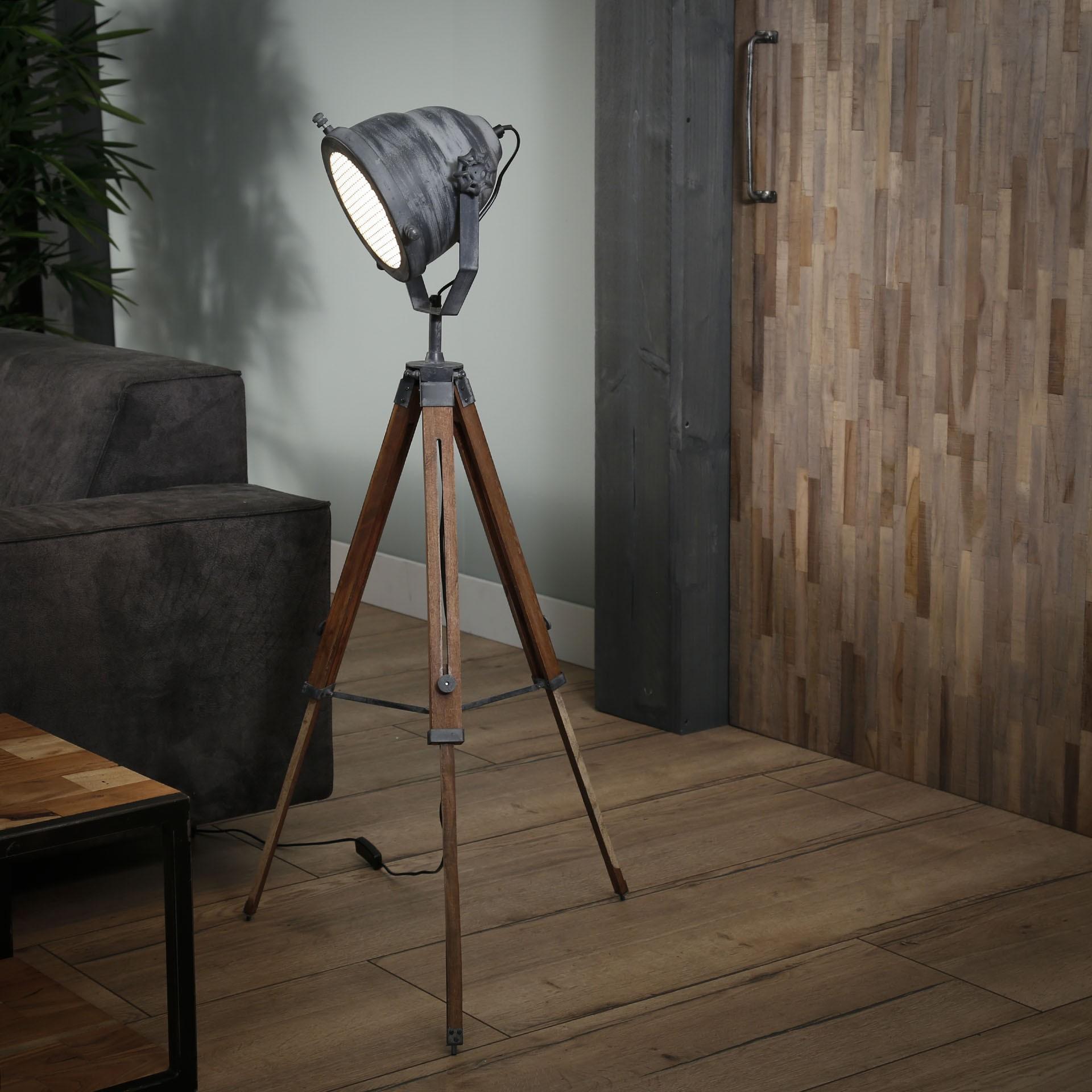 Vloerlamp iron houten statief - Grijs