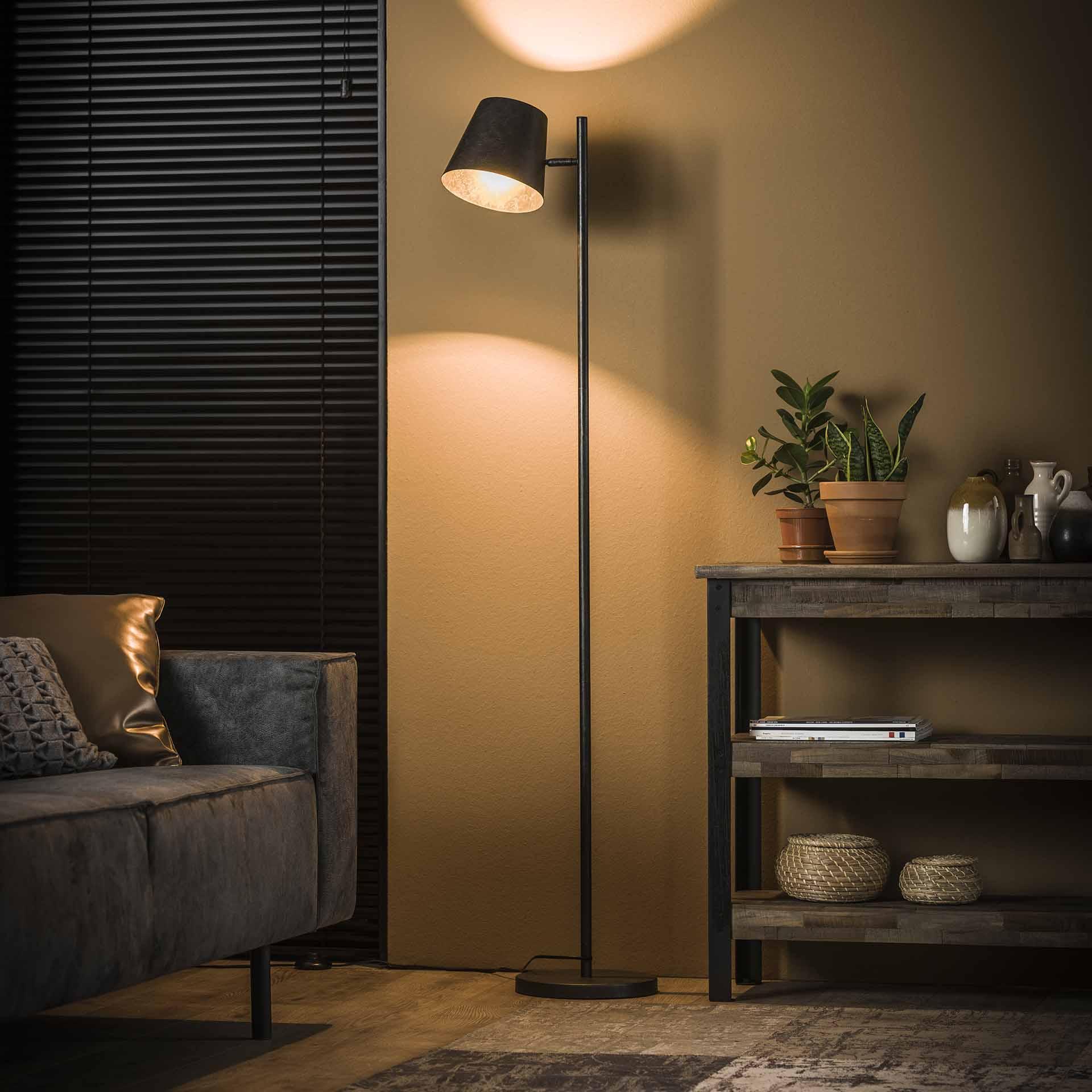 Vloerlamp 1L verstelbare metalen kap - Charcoal