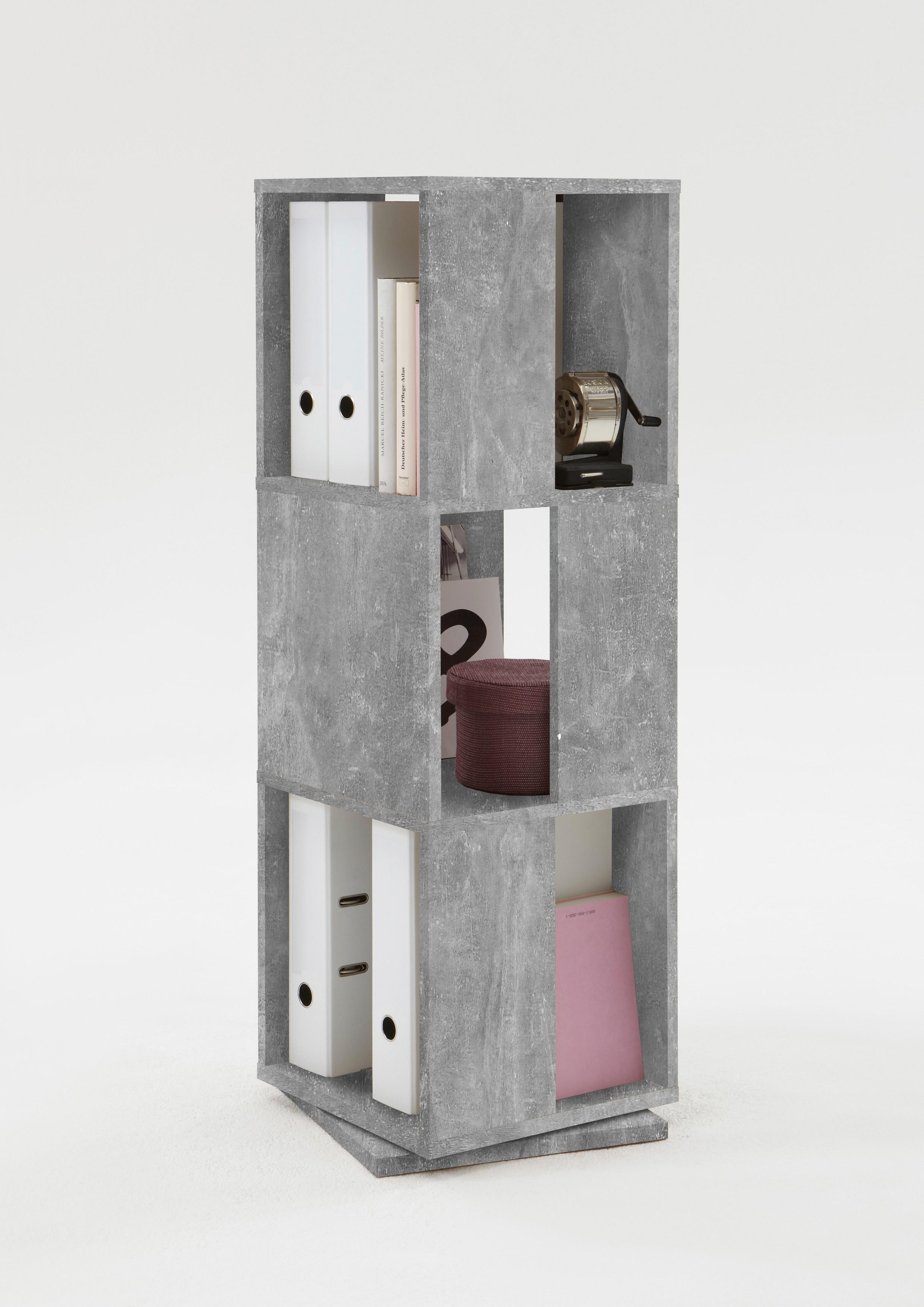 FMD Draaikast open ontwerp 34x34x108 cm betongrijs