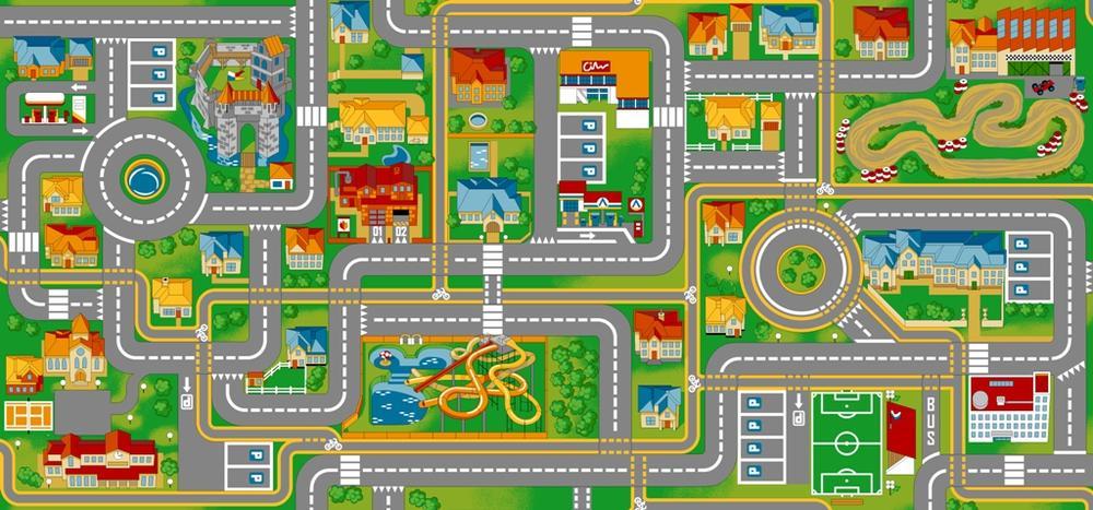 Vloerkleed Play City 95 x 200