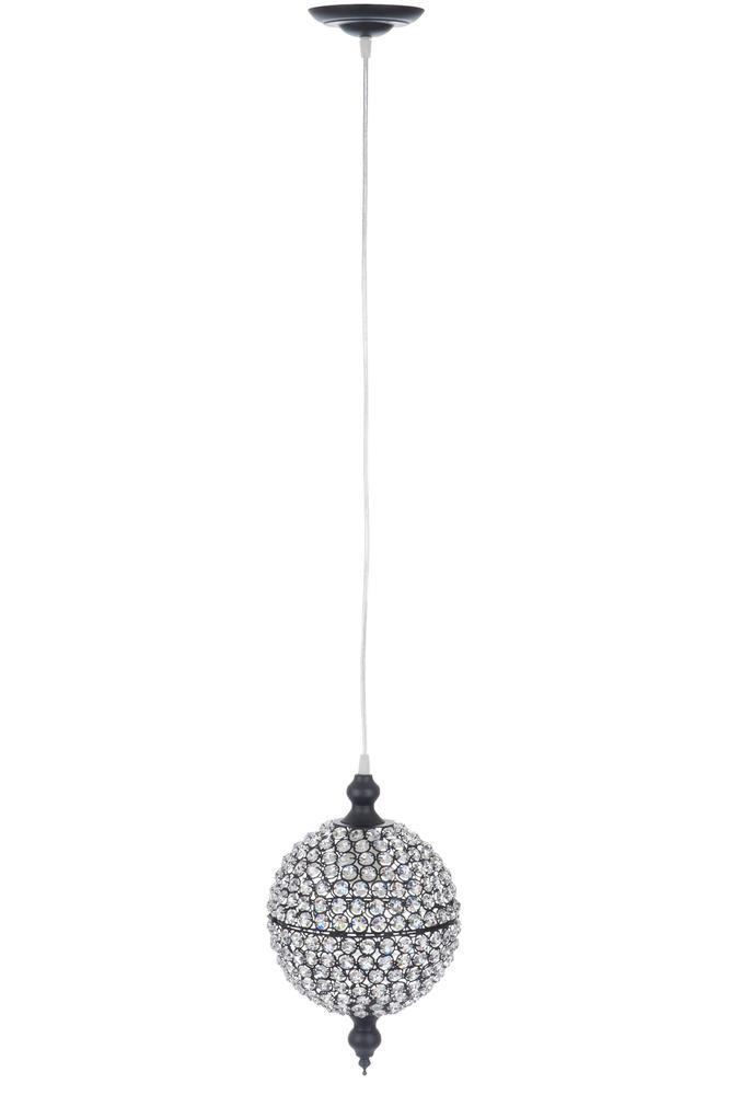 Hanglamp led bol geslepen glas ijzer/glas zwart medium 20,5x20,5x33cm