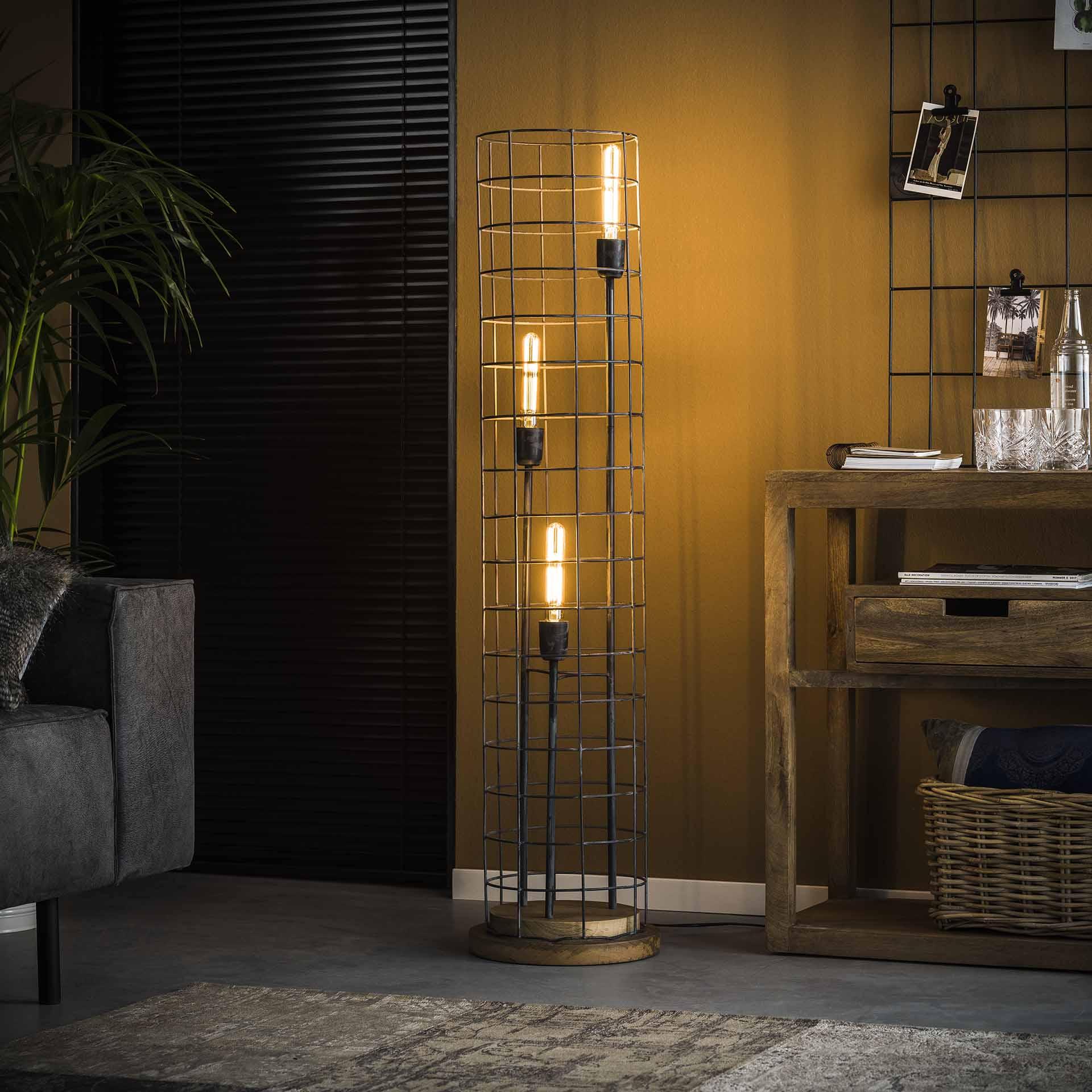 Vloerlamp 3L Ø31 gaas houten voet - Grijs