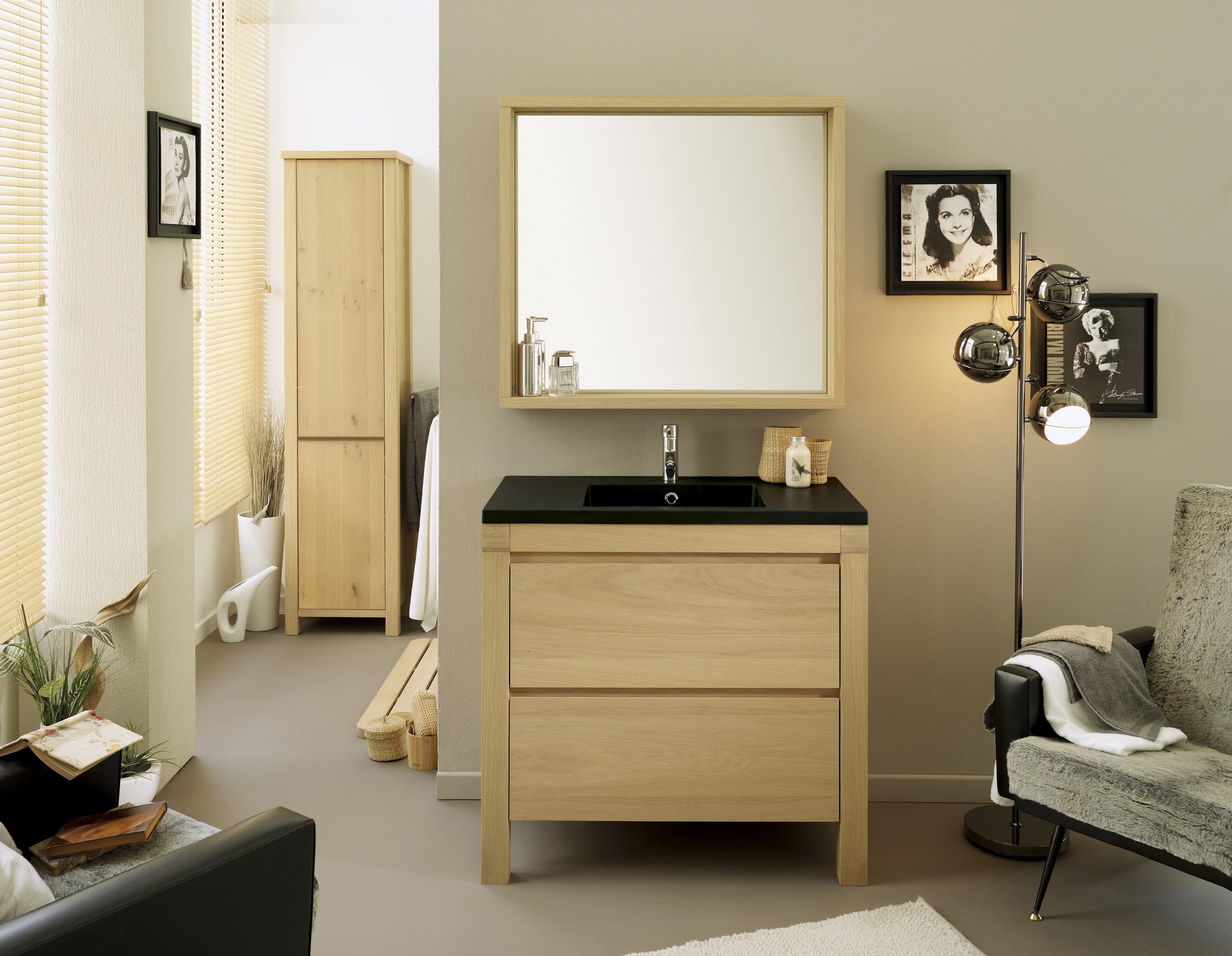 goedkope Wastafel en spiegel Erwin 90 cm Parisot Bruin PA0714BLRE