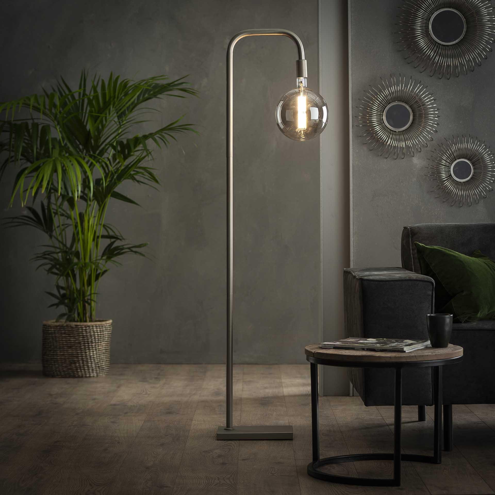 Vloerlamp U-vormige buis - Mat nikkel