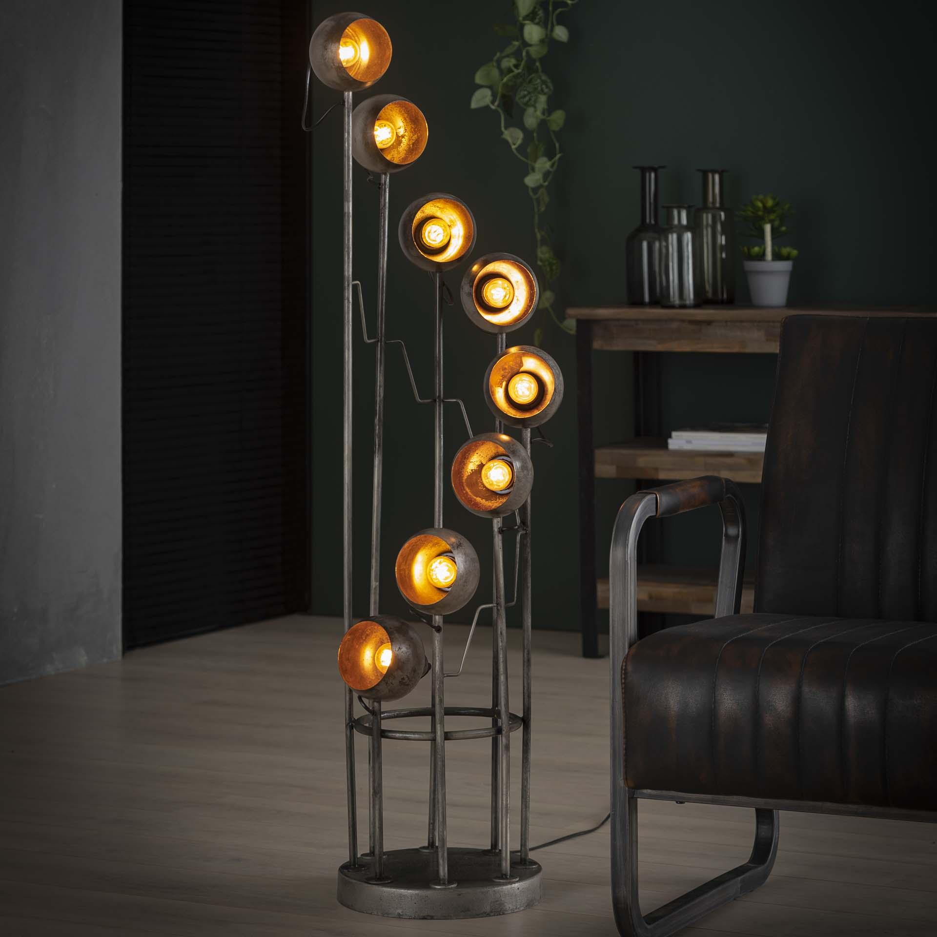 Vloerlamp 8L spiralo vintage - Oud zilver