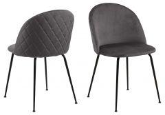 Set van 2 gestoffeerde stoelen Isa - donkergrijs/zwart