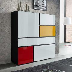 Dressoirkast Urbi H130 x B120 - zwart/multicolor