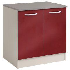 Onderkast Spoon 80 cm met 2 deuren - glossy red