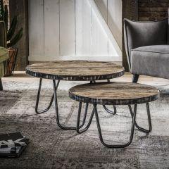 Set van 2 salontafels Ami industrieel - hardhout