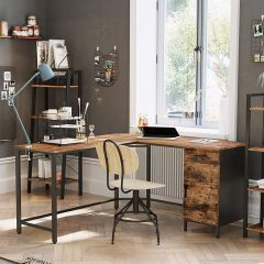 Hoekbureau Fabrice 150 cm met kastje - rustiek bruin/zwart