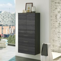Badkamerkast Florent 60cm 2 deuren & 3 lades - grafiet/grijze eik