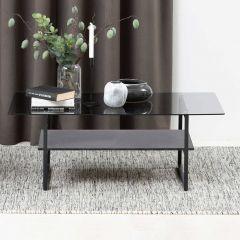 Salontafel Yanna 110x60 met glazen blad - marmer/zwart