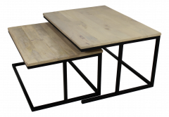 Salontafel large - naturel / zwart - set van 2