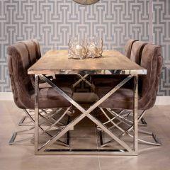 Eettafel Redon 240x100 met kruispoten - bruin/grijs