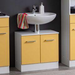 Wastafelonderkast Ricca 60cm 2 deuren - wit/geel