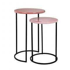 Set van 2 bijzettafels Yorke - roze/zwart