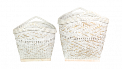 Mandenset - bamboo - white wash - set van 2