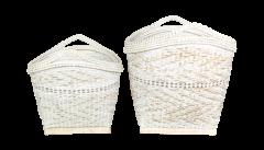 Mandenset - bamboo - white wash - set van 2