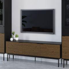Tv-meubel Selma 150cm met 3 deuren - zwart/bruin