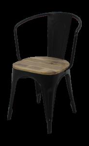 Set van 4 Industriële caféstoelen - mangohout / ijzer