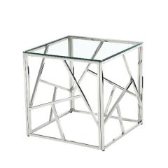 Bijzettafeltje Greenland glazen blad - zilver