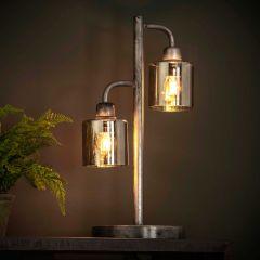 Tafellamp Pearl 2 lampen - oud zilver
