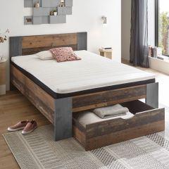 Bed Rudi 140x200 met 1 lade - old style/beton