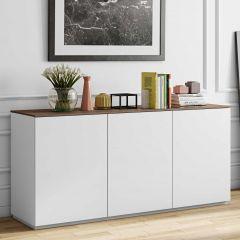 Dressoir Join 180cm hoog model met 3 deuren - mat wit/walnoot