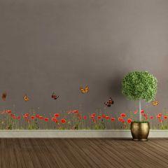 Muurstickers Poppies & Butterflies - sierrand