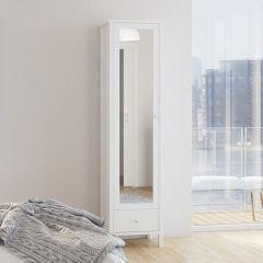 Kledingkast Tarik 49cm met spiegeldeur en lade - wit