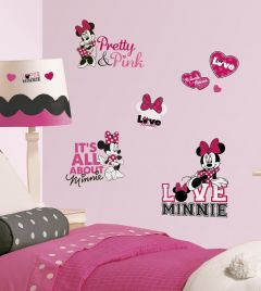 RoomMates muurstickers - Minnie loves pink