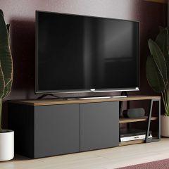 Tv-meubel Albi - walnoot/zwart