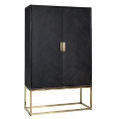 Wandkast Bony 108cm 2 deuren - zwart/goud