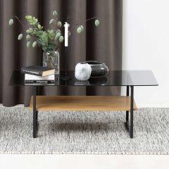 Salontafel Yanna 110x60 met glazen blad - wilde eik/zwart