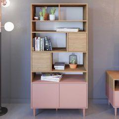 Boekenkast Horizon groot - eik/roze