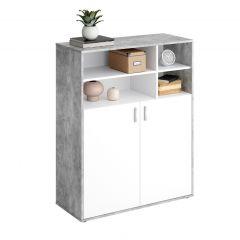 Boekenkast Pjotr - beton/wit