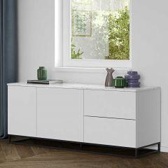 Dressoir Join 160cm met metalen onderstel, 2 deuren en 2 laden - mat wit/wit marmer
