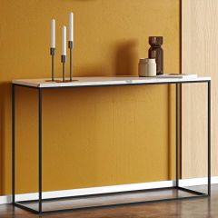 Sidetable Gleam 120cm - wit marmer/staal