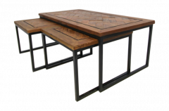 Salontafelset Bradley - gerecycled Javahout / ijzer - set van 3