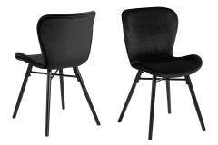 Set van 2 fluwelen stoelen Tilda met schuine poten - zwart