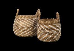 Mandenset - naturel / wit - waterhycinth - set van 2