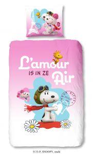 Dekbedovertrek Snoopy 140x220 - roze