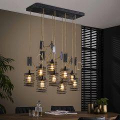 Hanglamp Eres met 9 lampenkappen - grijs