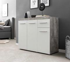 Dressoir Tristan 3 deuren & 1 lade - wit/beton