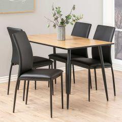 Set van 4 stoelen Demir - zwart kunstleder