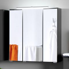 Spiegelkast Bobbi 60cm model 2 3 deuren & ledverlichting - grafiet